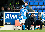 St Johnstone v Partick Thistle…13.05.17     SPFL    McDiarmid Park<br />A pat on the back for Danny Swanson from manager Tommy Wright<br />Picture by Graeme Hart.<br />Copyright Perthshire Picture Agency<br />Tel: 01738 623350  Mobile: 07990 594431