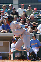Salvador Perez #39 of the Wilmington Blue Rocks hitting against the Myrtle Beach Pelicans on April 11, 2010  in Myrtle Beach, SC.