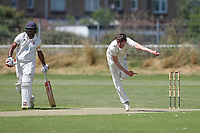 Sam Hewitt in bowling action for Gidea Park during Oakfield Parkonians CC vs Gidea Park and Romford CC, Hamro Foundation Essex League Cricket at Oakfield Playing Fields on 17th July 2021