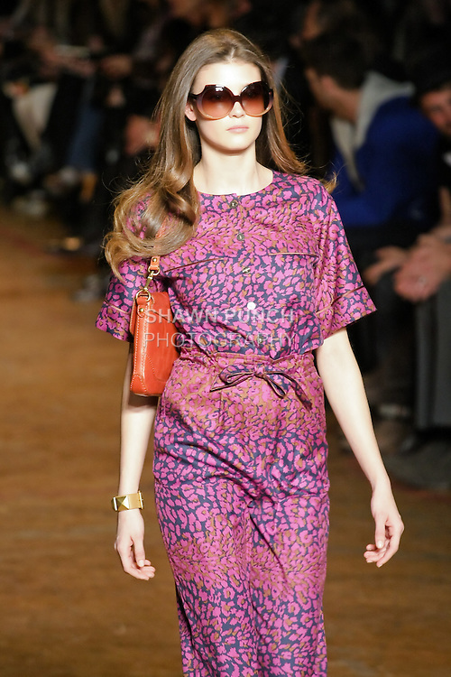 Diana Moldovan walks runway in an outfit from the Marc by Marc Jacobs Fall/Winter 2011 collection, during New York Fashion Week, Fall 2011.