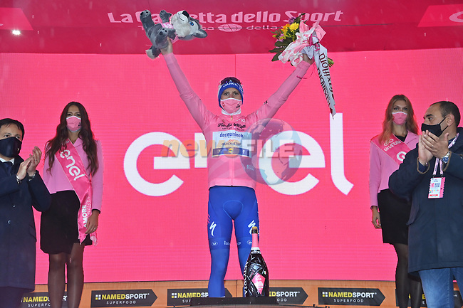 Race leader Joao Almeida (POR) Deceuninck-Quick Step retains the Maglia Rosa at the end of Stage 9 of the 103rd edition of the Giro d'Italia 2020 running 208km from San Salvo to Roccaraso (Aremogna), Sicily, Italy. 11th October 2020.  <br /> Picture: LaPresse/Gian Mattia D'Alberto | Cyclefile<br /> <br /> All photos usage must carry mandatory copyright credit (© Cyclefile | LaPresse/Gian Mattia D'Alberto)