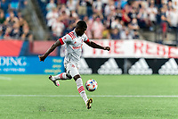 FOXBOROUGH, MA - JULY 7: Kemar Lawrence #92 of Toronto FC collects a pass during a game between Toronto FC and New England Revolution at Gillette Stadium on July 7, 2021 in Foxborough, Massachusetts.