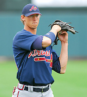 Atlanta Braves outfield prospect Jordan Schafer at the Braves Spring Training site March 16, 2007, at the Disney Wide World of Sports complex at Lake Buena Vista, Fla. Schafer was assigned to the Myrtle Beach Pelicans to start the regular season.  Photo by:  Tom Priddy/Four Seam Images