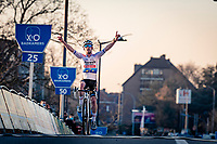 Eli Iserbyt (BEL/Pauwels Sauzen-Bingoal) crossing the finish line victoriously<br /> <br /> 2020 Urban Cross Kortrijk (BEL)<br /> men's race<br /> <br /> ©kramon
