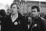 National Front NF members wearing John Tyndall badges. (John Tyndall was the leader of the NF)  Remembrance Day march and rally 1977.