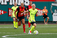 Rochester, NY - Saturday July 09, 2016: Seattle Reign FC midfielder Jessica Fishlock (10), Western New York Flash midfielder Lianne Sanderson (10) during a regular season National Women's Soccer League (NWSL) match between the Western New York Flash and the Seattle Reign FC at Frontier Field.