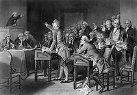 Patrick Henry Addressing the Virginia Assembly. 1765.  Engraving attributed to H. B. Hall after Alonzo Chappel, published 1867. (OWI)<br /> Exact Date Shot Unknown<br /> NARA FILE #:  208-LU-25K-4<br /> WAR & CONFLICT #:  1