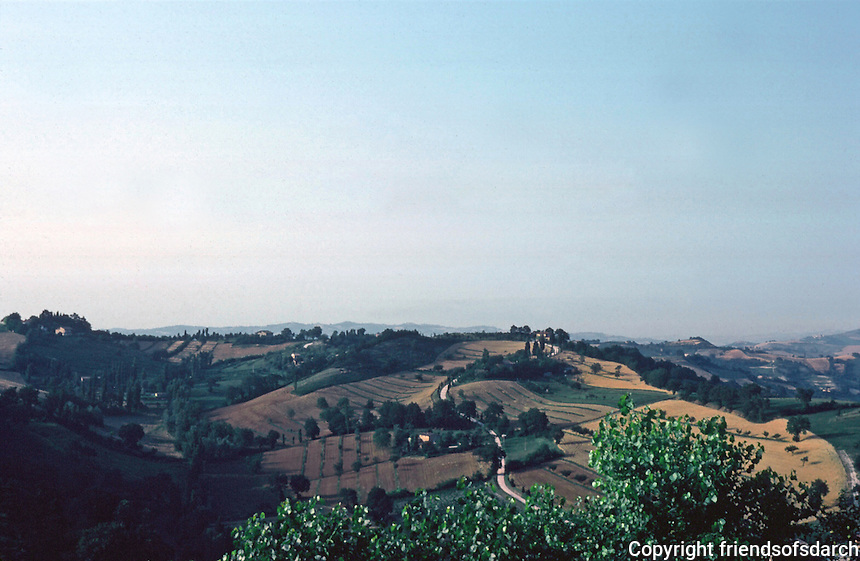 Urbino:  Panorama--the undulating countryside of the Marches.  Photo '83.