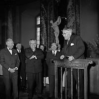 Le 6 Novembre 1962. Vue du compositeur Henri Busser en plein discours dans la salle du Capitole.