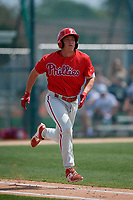 Philadelphia Phillies Matt Kroon (10) during a minor league Spring Training game against the Pittsburgh Pirates on March 13, 2019 at Pirate City in Bradenton, Florida.  (Mike Janes/Four Seam Images)