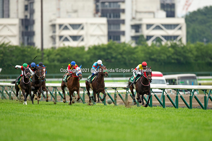 TOYOAKE,JAPAN-JUN 5: Unicorn Lion #3,ridden by Ryusei Sakai,wins the Naruo Kinen at Chukyo Racecourse on June 5,2021 in Toyoake,Aichi,Japan. Kaz Ishida/Eclipse Sportswire/CSM