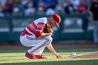 Louisville Cardinals pitcher Nick Bennett (8) before Game 10 of the NCAA College World Series against the Mississippi State Bulldogs on June 20, 2019 at TD Ameritrade Park in Omaha, Nebraska. Louisville defeated Mississippi State 4-3. (Andrew Woolley/Four Seam Images)
