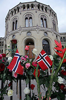 (Oslo July 25, 2011) Flowers outside the Norwegian Parliament. An estimated 150,000 people gathered in Oslo town centre for a vigil following Friday's twin extremist attacks ...A large vehicle bomb was detonated near the offices of Norwegian Prime Minister Jens Stoltenberg on 22 July 2011. .Another terrorist attack took place shortly afterwards, where a man killed 68 people, mainly children and youths attending a political camp at Utøya island. ..Anders Behring Breivik was arrested on the island and has admitted to carrying out both attacks..(photo:Fredrik Naumann/Felix Features)