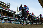 MAY 01, 2021: Medina Spirit with John Velazquez lead the field past the grandstand for the first time in the Kentucky Derby at Churchill Downs in Louisville, Kentucky on May 1, 2021. EversEclipse Sportswire/CSM