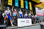 Deceuninck-Quick Step at the Team Presentation before the start of Stage 1 of Criterium du Dauphine 2020, running 218.5km from Clermont-Ferrand to Saint-Christo-en-Jarez, France. 12th August 2020.<br /> Picture: ASO/Alex Broadway | Cyclefile<br /> All photos usage must carry mandatory copyright credit (© Cyclefile | ASO/Alex Broadway)
