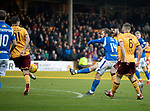 Motherwell v St Johnstone…..30.11.19   Fir Park   SPFL<br />Stevie May's shot is blocked<br />Picture by Graeme Hart.<br />Copyright Perthshire Picture Agency<br />Tel: 01738 623350  Mobile: 07990 594431