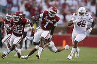 Arkansas quarterback KJ Jefferson (1) carries the ball, Saturday, September 11, 2021 during the second quarter of a football game at Reynolds Razorback Stadium in Fayetteville. Check out nwaonline.com/210912Daily/ for today's photo gallery. <br /> (NWA Democrat-Gazette/Charlie Kaijo)