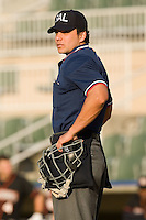 Home plate umpire Roberto Medina prior to the start of the South Atlantic League game between the Delmarva Shorebirds and the Kannapolis Intimidators at Fieldcrest Cannon Stadium in Kannapolis, NC, Wednesday, May 14, 2008.