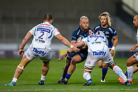21st August 2020; AJ Bell Stadium, Salford, Lancashire, England; English Premiership Rugby, Sale Sharks versus Exeter Chiefs; Akker van der Merwe of Sale Sharks is tackled by Jacques Vermeulen of Exeter Chiefs