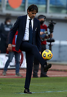 Football, Serie A: S.S. Lazio - Sampdoria, Olympic stadium, Rome, February 20, 2020. <br /> Lazio's coach Simone Inzaghi plays with the ball during the Italian Serie A football match between S.S. Lazio and Sampdoria at Rome's Olympic stadium, Rome, on February 20, 2021.  <br /> UPDATE IMAGES PRESS/Isabella Bonotto