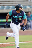 Right fielder Johnathan Rodriguez (32) of the Lynchburg Hillcats in a game against the Delmarva Shorebirds on Wednesday, August 11, 2021, at Bank of the James Stadium in Lynchburg, Virginia. (Tom Priddy/Four Seam Images)