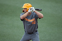 Luc Lipcius (40) of the Tennessee Volunteers at bat against the Charlotte 49ers at Hayes Stadium on March 9, 2021 in Charlotte, North Carolina. The 49ers defeated the Volunteers 9-0. (Brian Westerholt/Four Seam Images)