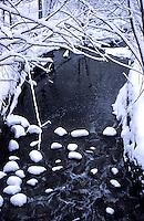 Creek runnung through Toronto Ontario Canada after a snow storm