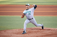 Daytona Tortugas starting pitcher Scott Moss (15) delivers a pitch during a game against the Tampa Tarpons on April 18, 2018 at George M. Steinbrenner Field in Tampa, Florida.  Tampa defeated Daytona 12-0.  (Mike Janes/Four Seam Images)