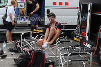"NFTO racing team cyclist's prepare for the race during the Abergavenny Festival of Cycling ""Grand Prix of Wales"" race on Sunday 17th 2016<br /> <br /> <br /> Jeff Thomas Photography -  www.jaypics.photoshelter.com - <br /> e-mail swansea1001@hotmail.co.uk -<br /> Mob: 07837 386244 -"