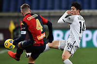 Takehiro Tomiyasu of Bologna Fc and Domenico Criscito of Genoa CFC compete for the ball  during the Serie A football match between Genoa CFC and Bologna FC at Marassi Stadium in Genova (Italy), January 10th, 2021. Photo Daniele Buffa / Image Sport / Insidefoto