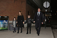 St-Jerome, Canada - April 7, 2014 - Quebec Media Tycoon Pierre Karl Peladeau with his long-term girlfriend Julie Snyder with their kids on provincial election  night.<br /> <br /> Peladeau was elected as an MNA and could be next Parti Quebecois leader.<br /> <br />  Snyder is a Francophone Canadian talk show host and producer, appearing as host and guest on various television programs in Canada and France. <br /> <br /> Photo : Raffi Kirdi - Agence Qebec Presse