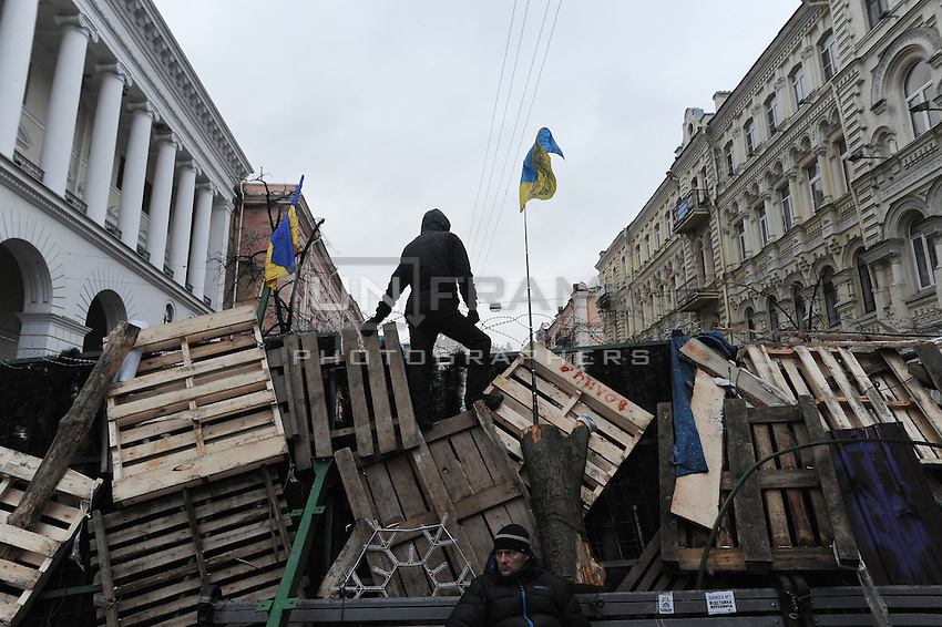 Barricades built around Independence square in Kiev.