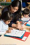 Afterschool homework help program for Headstart graduates Grades K-3 female teacher working with students in grades K & 1