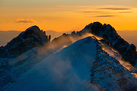 Mt. Humboldt at sunset, with Crestone Needle in back.  Looking west.  Feb 2013.  82612