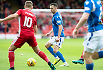 Aberdeen v St Johnstone…14.09.19   Pittodrie   SPFL<br />Jason Holt is closed down by Niall McGinn<br />Picture by Graeme Hart.<br />Copyright Perthshire Picture Agency<br />Tel: 01738 623350  Mobile: 07990 594431