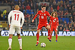 Cardiff - Wales - UK - 16th November 2018 - UEFA Nations League 2019 :<br />Wales v Denmark at the Cardiff City Stadium :<br />Harry Wilson controls the ball for Wales late in the second half.