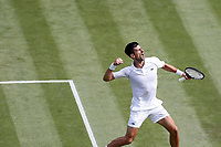 2nd July 2021; Wimbledon, SW London. England; Wimbledon Tennis Championships, day 5;   Novak Djokovic of Serbia celebrates after winning a point during the mens singles third round match against Denis Kudla of the United States