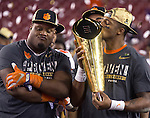 Clemson quarterback Deshaun Watson kisses the National Championship trophy after defeating Alabama to win the 2017 College Football Playoff National Championship in Tampa, Florida on January 9, 2017.  Clemson defeated Alabama 35-31. Photo by Mark Wallheiser/UPI