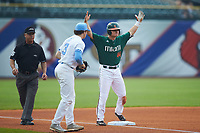 Michael Burns (44) of the Miami Hurricanes celebrates after hitting a triple during the game against the North Carolina Tar Heels in the second semifinal of the 2017 ACC Baseball Championship at Louisville Slugger Field on May 27, 2017 in Louisville, Kentucky. The Tar Heels defeated the Hurricanes 12-4. (Brian Westerholt/Four Seam Images)