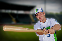 13 June 2018: Vermont Lake Monsters outfielder Adrian Spitz poses for a portrait on Photo Day at Centennial Field in Burlington, Vermont. The Lake Monsters are the Single-A minor league affiliate of the Oakland Athletics, and play a short season in the NY Penn League Stedler Division. Mandatory Credit: Ed Wolfstein Photo *** RAW (NEF) Image File Available ***