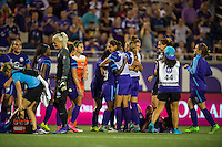 Orlando, FL - Thursday June 23, 2016: Orlando Pride after a regular season National Women's Soccer League (NWSL) match between the Orlando Pride and the Houston Dash at Camping World Stadium.