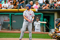 Brett Nicholas (22) of the Round Rock Express at bat against the Salt Lake Bees in Pacific Coast League action at Smith's Ballpark on August 15, 2016 in Salt Lake City, Utah. Round Rock defeated Salt Lake 5-4.  (Stephen Smith/Four Seam Images)