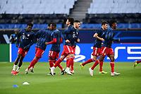 13th April 2021; Parc de Princes, Paris, France; UEFA Champions League football, quarter-final; Paris Saint Germain versus Bayern Munich;  Lucas Hernandez (Bayern) Kingsley Coman (Bayern) Benjamin Pavard (Bayern )  during warm up