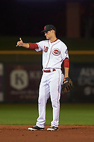 Scottsdale Scorpions second baseman Brantley Bell (38), of the Cincinnati Reds organization, during an Arizona Fall League game against the Peoria Javelinas on October 20, 2017 at Scottsdale Stadium in Scottsdale, Arizona. the Javelinas defeated the Scorpions 2-0. (Zachary Lucy/Four Seam Images)