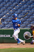 Memphis Tigers Austin Baskin (26) bats during a game against the East Carolina Pirates on May 25, 2021 at BayCare Ballpark in Clearwater, Florida.  (Mike Janes/Four Seam Images)
