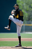 Pittsburgh Pirates pitcher Marek Minarik (60) during a minor league spring training game against the Toronto Blue Jays on March 21, 2015 at Pirate City in Bradenton, Florida.  (Mike Janes/Four Seam Images)