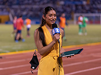 SAN PEDRO SULA, HONDURAS - SEPTEMBER 8: Sideline reporter Jenny Chiu speaks on the sideline during a game between Honduras and USMNT at Estadio Olímpico Metropolitano on September 8, 2021 in San Pedro Sula, Honduras.