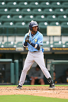 FCL Rays Christian Johnson (47) bats during a game against the FCL Pirates Gold on July 26, 2021 at LECOM Park in Bradenton, Florida. (Mike Janes/Four Seam Images)
