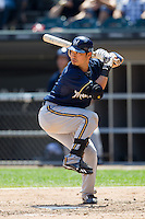 Milwaukee Brewers outfielder Norichika Aoki  #7 at bat during the Major League Baseball game against the Chicago White Sox on June 24, 2012 at US Cellular Field in Chicago, Illinois. The White Sox defeated the Brewers 1-0 in 10 innings. (Andrew Woolley/Four Seam Images).