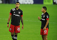 WASHINGTON, DC - OCTOBER 28: Gelmin Rivas #20 of D.C. United with Edison Flores #10 of D.C. United during a game between Columbus Crew and D.C. United at Audi Field on October 28, 2020 in Washington, DC.